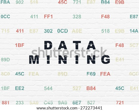 Information concept: Painted black text Data Mining on White Brick wall background with Hexadecimal Code, 3d render - stock photo