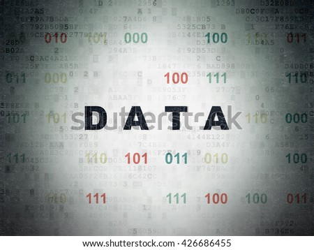Information concept: Painted black text Data on Digital Data Paper background with Binary Code - stock photo