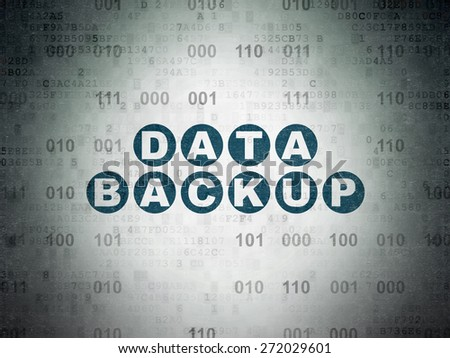 Information concept: Painted blue text Data Backup on Digital Paper background with Binary Code, 3d render - stock photo