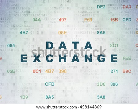 Information concept: Painted blue text Data Exchange on Digital Data Paper background with Hexadecimal Code - stock photo