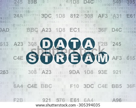 Information concept: Painted blue text Data Stream on Digital Paper background with Hexadecimal Code, 3d render - stock photo