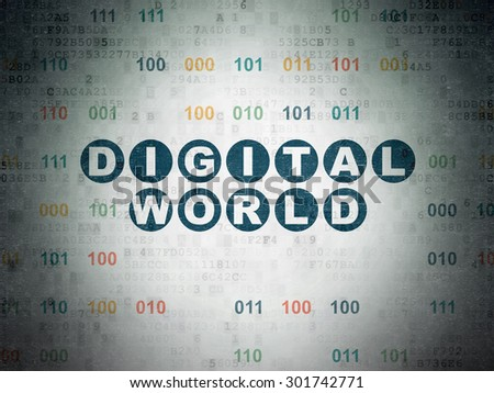 Information concept: Painted blue text Digital World on Digital Paper background with Binary Code, 3d render - stock photo