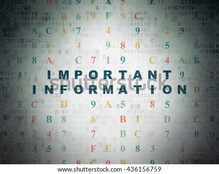 Information concept: Painted blue text Important Information on Digital Data Paper background with Hexadecimal Code - stock photo