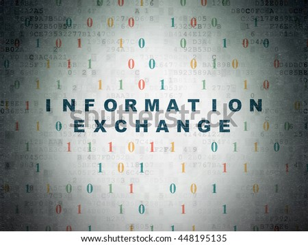 Information concept: Painted blue text Information Exchange on Digital Data Paper background with Binary Code - stock photo