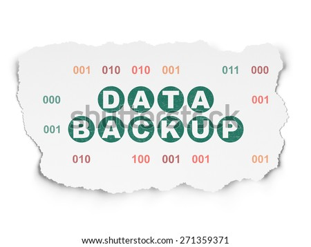 Information concept: Painted green text Data Backup on Torn Paper background with  Binary Code, 3d render - stock photo