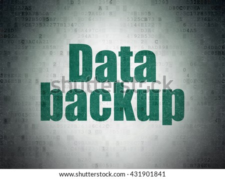 Information concept: Painted green word Data Backup on Digital Data Paper background - stock photo
