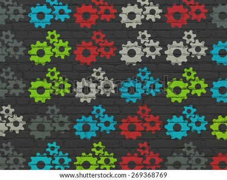 Information concept: Painted multicolor Gears icons on Black Brick wall background, 3d render - stock photo