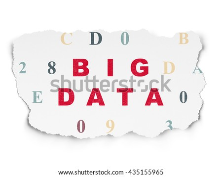 Information concept: Painted red text Big Data on Torn Paper background with  Hexadecimal Code - stock photo