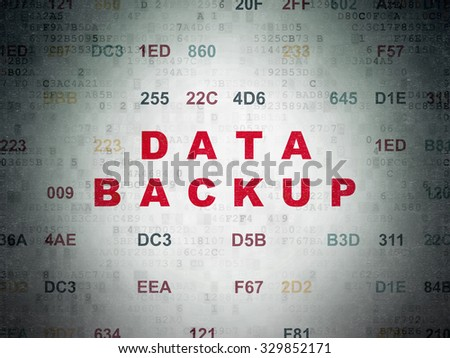 Information concept: Painted red text Data Backup on Digital Paper background with Hexadecimal Code - stock photo