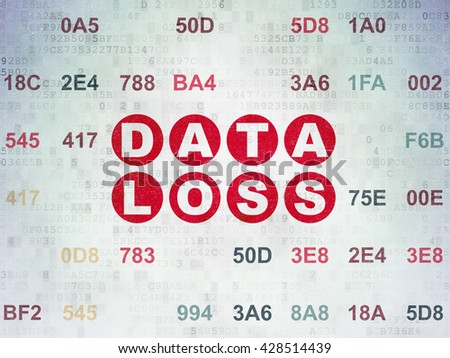 Information concept: Painted red text Data Loss on Digital Data Paper background with Hexadecimal Code - stock photo