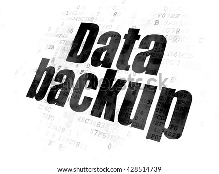 Information concept: Pixelated black text Data Backup on Digital background - stock photo