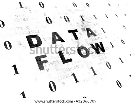 Information concept: Pixelated black text Data Flow on Digital wall background with Binary Code - stock photo