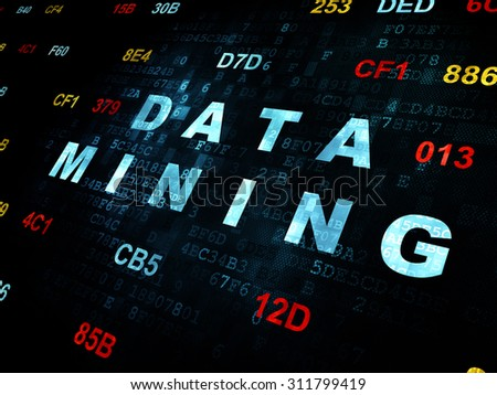 Information concept: Pixelated blue text Data Mining on Digital wall background with Hexadecimal Code - stock photo
