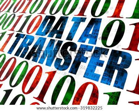 Information concept: Pixelated blue text Data Transfer on Digital wall background with Binary Code - stock photo