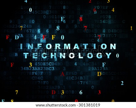 Information concept: Pixelated blue text Information Technology on Digital wall background with Hexadecimal Code, 3d render - stock photo