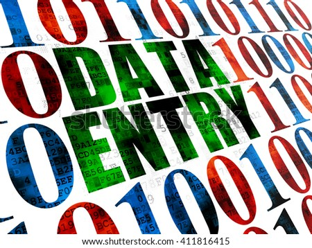 Information concept: Pixelated green text Data Entry on Digital wall background with Binary Code - stock photo