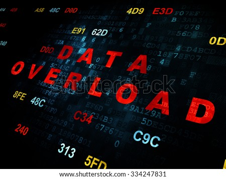 Information concept: Pixelated red text Data Overload on Digital wall background with Hexadecimal Code - stock photo