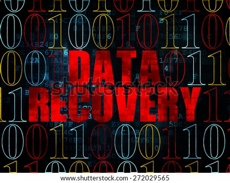 Information concept: Pixelated red text Data Recovery on Digital wall background with Binary Code, 3d render - stock photo