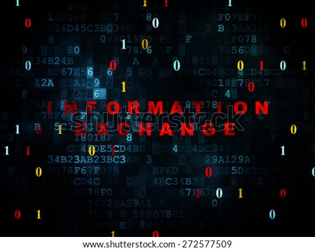 Information concept: Pixelated red text Information Exchange on Digital wall background with Binary Code, 3d render - stock photo