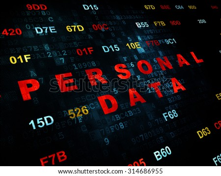 Information concept: Pixelated red text Personal Data on Digital wall background with Hexadecimal Code - stock photo