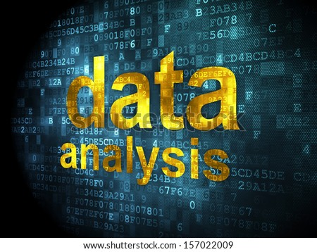 Information concept: pixelated words Data Analysis on digital background, 3d render - stock photo