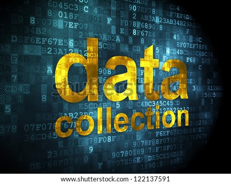 Information concept: pixelated words data collection on digital background, 3d render - stock photo