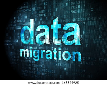 Information concept: pixelated words Data Migration on digital background, 3d render - stock photo