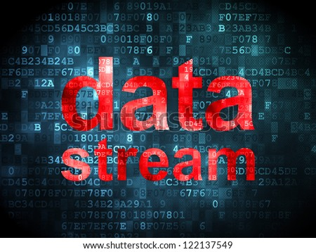 Information concept: pixelated words data stream on digital background, 3d render - stock photo
