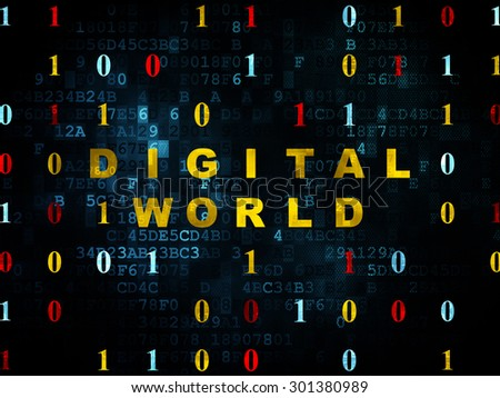 Information concept: Pixelated yellow text Digital World on Digital wall background with Binary Code, 3d render - stock photo