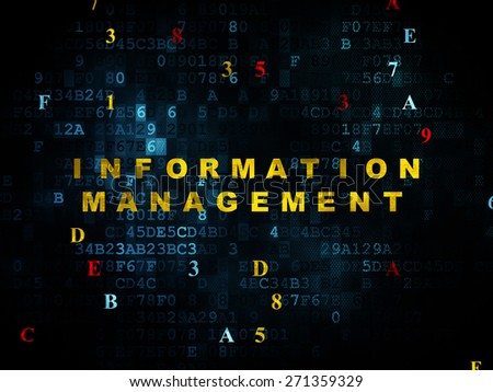 Information concept: Pixelated yellow text Information Management on Digital wall background with Hexadecimal Code, 3d render - stock photo