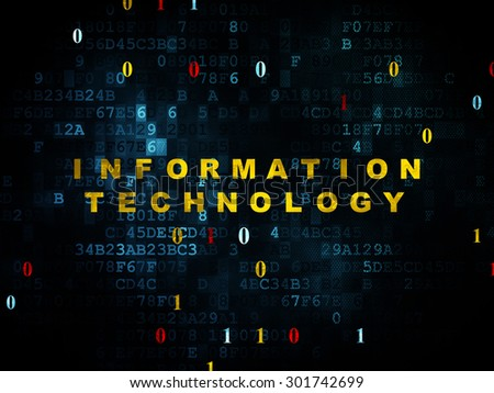 Information concept: Pixelated yellow text Information Technology on Digital wall background with Binary Code, 3d render - stock photo