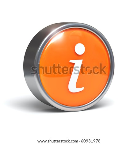 Information - 3D button with clipping path