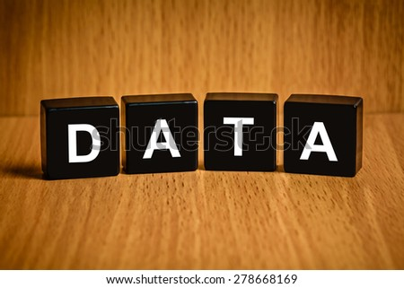 information data text on black block - stock photo