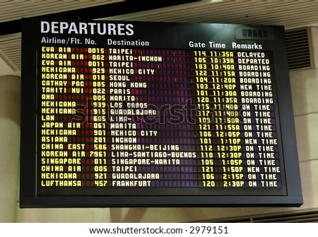 Information display at the airport - stock photo