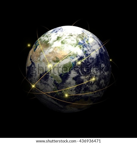 """Information flying the Earth """"Asia"""" """"3D rendering""""  - stock photo"""