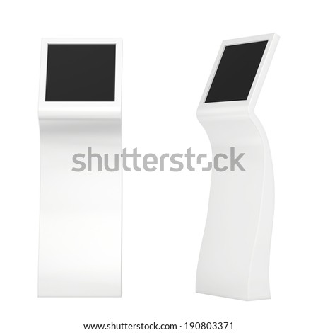 information kiosk. Information terminal. interactive kiosk on white background - stock photo