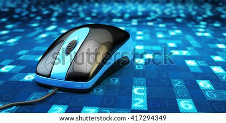 Information medium, network connection and internet technology concept, computer mouse on abstract blue background with digital data, 3d illustration - stock photo