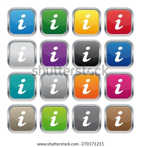 Information metallic square buttons - stock photo