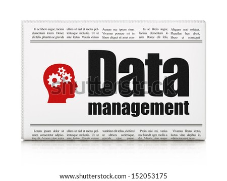 Information news concept: newspaper headline Data Management and Head With Gears icon on White background, 3d render - stock photo