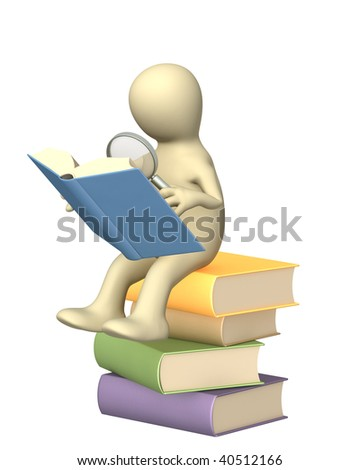 Information search in the books - stock photo