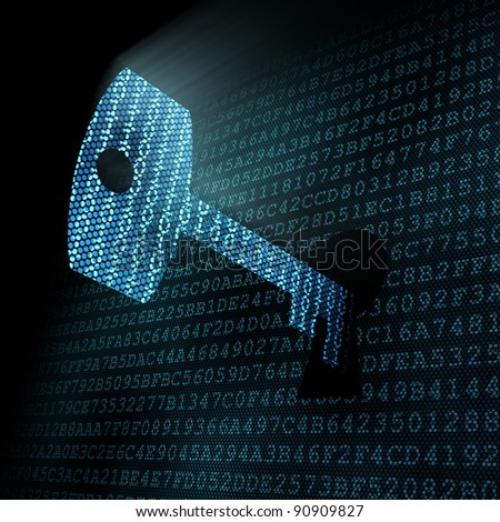 Information security concept: digital key in keyhole over digital information background