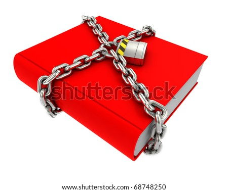 Information security concept. Red book with chain and padlock. - stock photo