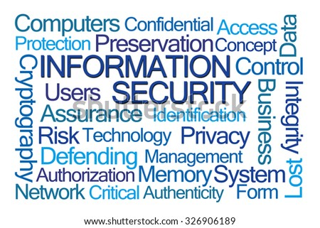 Information Security Word Cloud on White Background - stock photo