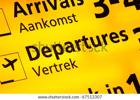 Information sign at Amsterdam Schiphol Airport, the Netherlands - stock photo