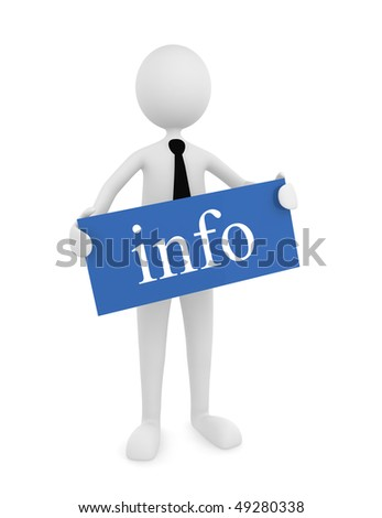 Information Sign; Man holding blue info sign; great for information concepts. - stock photo
