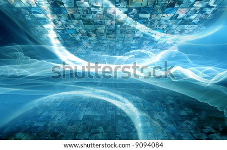 Information space. Digitally made image from my photos, cyberspace concept - stock photo