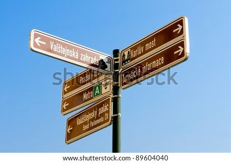Information street sign in Prague, Czech republic - stock photo