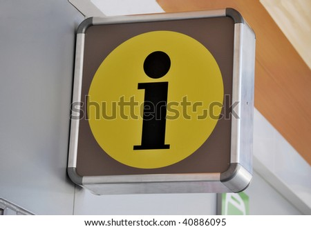 Information symbol in the street. Info and help point - stock photo