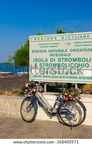 Information table near beach on Stromboli island, Sicily, Italy. - stock photo