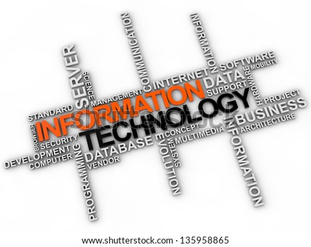 information Technologie word cloud over white background - stock photo